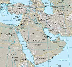 Middle East - Map of the Middle East between Africa, Europe, and Central Asia.