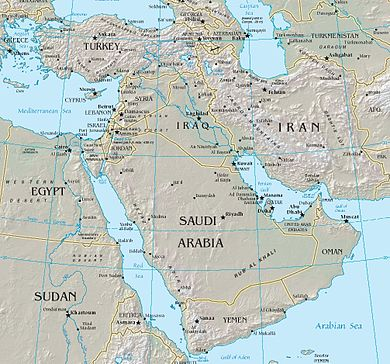 Map of the Middle East between Africa, Europe, Central Asia, and South Asia. Middle east.jpg