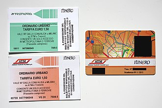 Milan suburban railway service - A Milan urban ticket from Trenord (up left) and the same ticket from ATM (bottom left). On the right, an Itinero smart card: the name on the bottom left, the photo and the card number on the right have been covered.