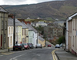 Buncrana - Millbrae at the end of the Lower Main Street with Swan Mill in the background