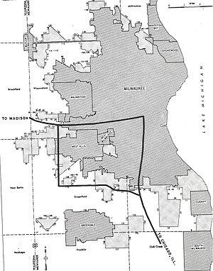 1967 Milwaukee riot - Map of Milwaukee, 1955