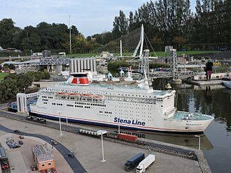 Stena Line - A miniature model of the Stena Line ferry on display at Madurodam miniature park, Holland.