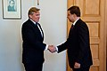 Ministru prezidents Valdis Dombrovskis tiekas ar Lietuvas Republikas ārlietu ministru Audroņu Ažubali (7285586386).jpg