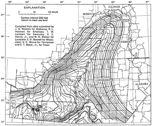 Mississippi embayment - Mississippi Embayment Top Cretaceous Contour Map