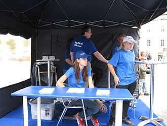Civic Democratic Party (Czech Republic) - Blue Team kiosk during an election campaign in Brno