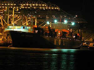 Mol Precision at night, at the Amazone harbour, Port of Rotterdam, Holland 29-Jan-2006.jpg