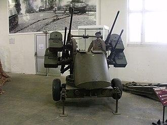 M45 Quadmount - M45 on an M20 trailer in the Musée des Blindés