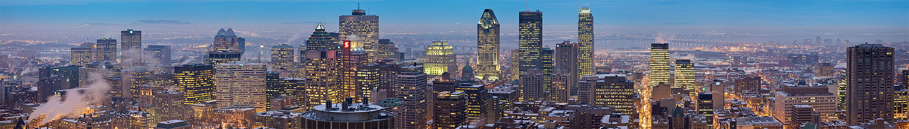 A panoramic view of Montreal from the top of Mount Royal