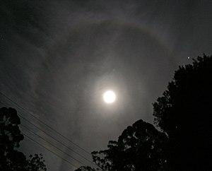 Cirrostratus cloud - Cirrostratus at night causing a moon halo