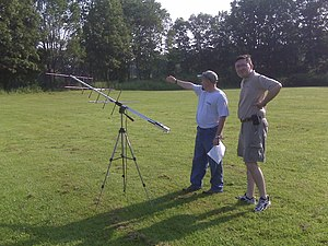 Amateur radio satellite - Yagi antenna being used to communicate through an FM LEO.