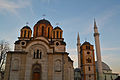 Mosque and Serbian Orthodox Church Uroševac Ferizaj.jpg