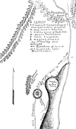 Conspiracy and siege of the Mountain Meadows massacre - Map of the Meadows by Josiah F. Gibbs