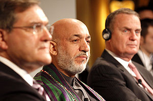 Foreign relations of Afghanistan - Afghan President Hamid Karzai in Germany, with Franz Josef Jung to his right and James L. Jones to his left.
