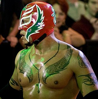 Gimmick (professional wrestling) - Wrestler Rey Mysterio uses a Mexican 'luchador' gimmick.
