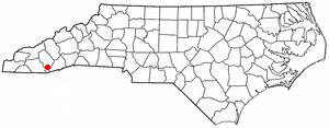 Cashiers, North Carolina - Image: NC Map doton Cashiers