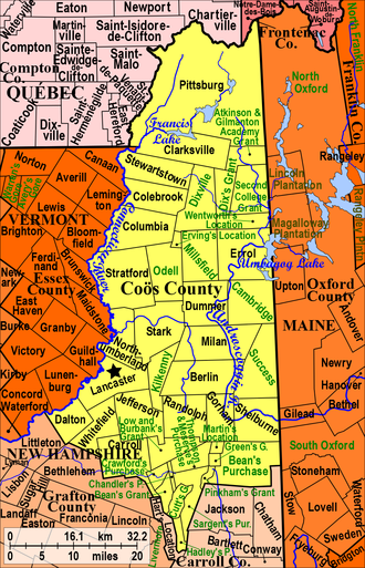 Coös County, New Hampshire - Modern town borders in Coös County, New Hampshire. Cities and towns are named in black and have town records. Green places are unincorporated, and do not keep records.