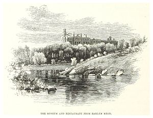 Harlem Meer - Image: NYC Central Park (1869) p 182 Museum and Restaurant from Harlemer Meer