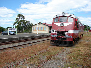 Pahiatua Railcar Society - RM 31 in the Pahiatua yard with the station building and platform to the left.