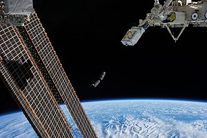 International Space Station - CubeSats are deployed by the NanoRacks CubeSat Deployer attached to the end of the Japanese robotic arm