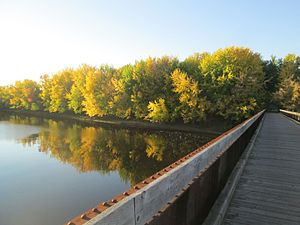 Nashwaak River - A footbridge over the Nashwaak River in autumn 2016