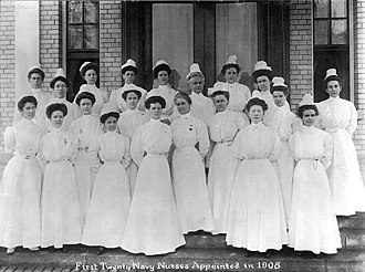 United States Navy Nurse Corps - Group photograph of the first twenty Navy nurses, appointed in 1908.