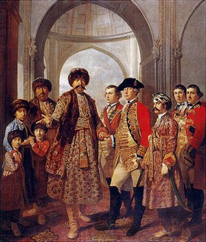 Awadh - Shuja-ud-Daula, the third Nawab in Faizabad, pictured with Four Sons, General Barker and other Military Officers.