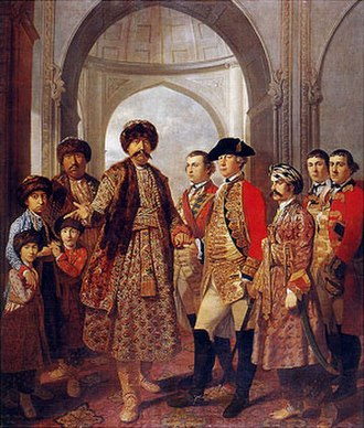 Gulab Bari - Shuja-ud-Daula the Nawab of Awadh, with Four Sons, General Barker and other military officers