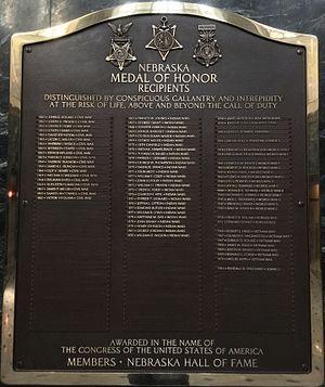 Nebraska Hall of Fame - Nebraska Medal of Honor Plaque, Nebraska Hall of Fame, Nebraska State Capitol, Memorial Chamber.