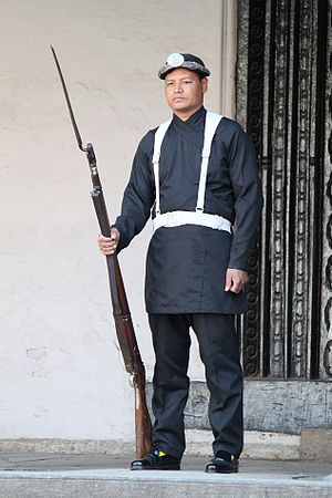Nepalese Army - Nepal army's Guruju Paltan (an infantry company) in traditional uniform