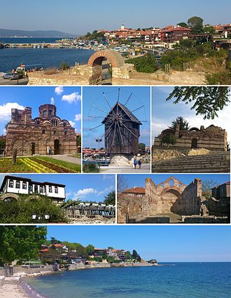 Nesebar - From top left: Northern harbour, Church of Christ Pantokrator, The wooden windmill on the isthmus, Church of St John Aliturgetos, Old house and town walls, Church of St Sophia, Southern bay of the old town