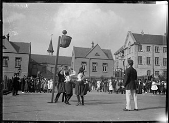 Netball in New Zealand - A netball game at an unidentified school, ca. 1910