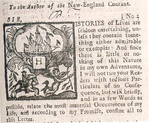 The New-England Courant - Silence Dogood Essay in New England Courant