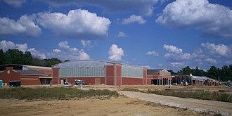 Ravenna High School (Ohio) - The new building under construction in September 2009 with the Coll Gymnasium in center.
