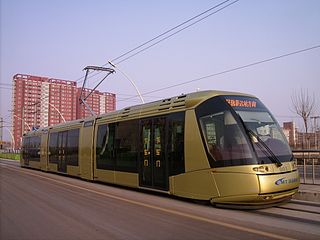 TEDA Modern Guided Rail Tram guided tram line in Binhai New Area of Tianjin, China