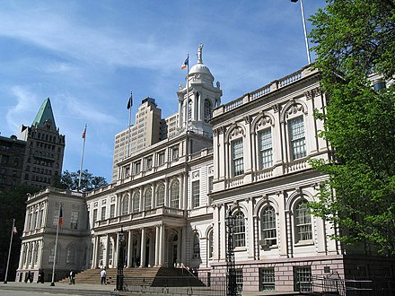 New York City Hall is the oldest City Hall in the United States that still houses its original governmental functions. New York City Hall.jpg