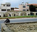 Nicosia Venetian old aquedact and park and cyclist Nicosia Republic of Cyprus.jpg
