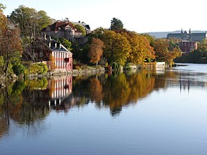 English: Autumn foliage along Nidelva (river) ...