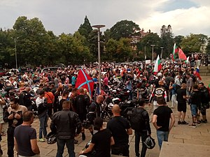 Night Wolves - Night Wolves in Sofia, Bulgaria holding Bulgarian and Russian flags, 1 July 2016