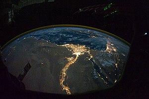 Nile Delta - The Nile Delta at night as seen from the ISS in October 2010.