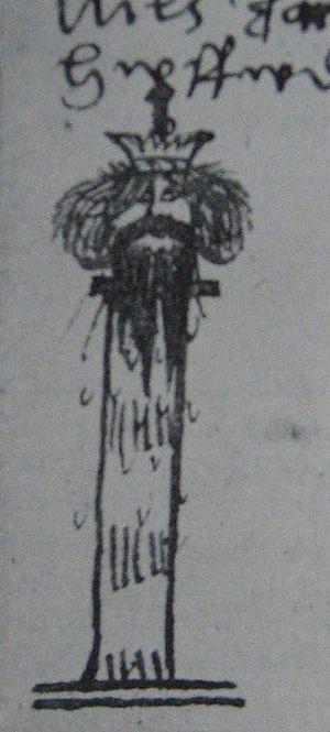 Nils Dacke - Nils Dacke´s severed head. Drawing by the 16th-century chronicler Joen Petri Klint.