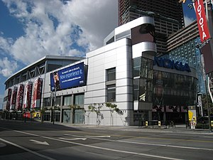 L.A. Live - The completed Microsoft Theater (formerly Nokia Theatre) from Chick Hearn Court