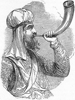 Bechukotai - A priest blowing a horn (illustration from Henry Davenport Northrop's 1894 Treasures of the Bible)