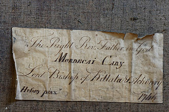 Mordecai Cary - Image: Note on back of portrait of Bishop Mordecai Carey