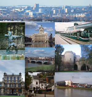 Nottingham skyline. Landmarks clockwise from top left: Robin Hood, Council House, NET Tram, (middle) Trent Bridge, the Castle Gate House,  Nottingham Forest's City Ground, Ye Olde Trip to Jerusalem and Wollaton Hall