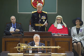 James Dutton (Royal Marines officer) - Dutton being sworn in as Governor of Gibraltar at the Gibraltar Parliament