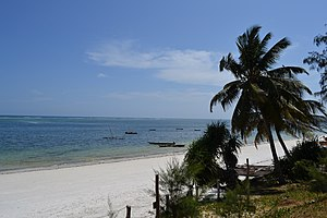 Nyali Beach towards the south from the Reef Hotel during high tide in Mombasa, Kenya.jpg