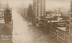 Main Stree in Dayton, Ohio with several feet of water during the flood