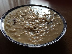 Oatmeal - Oatmeal cooked with water to create a runny bowl of porridge