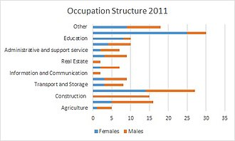 Ripple, Kent - A chart showing the Occupational Structure of Ripple in 2011