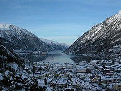View of the town of Odda
